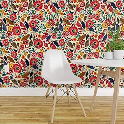 Spoonflower Pre Pasted Removable Wallpaper Jumbo Botanical