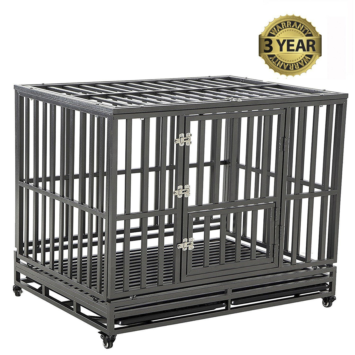 LUCKUP Heavy Duty Dog Cage Strong Metal Kennel and Crate for Medium and Large Dogs, Pet Playpen with Four Wheels,Easy to Install,42 inch,Black by LUCKUP