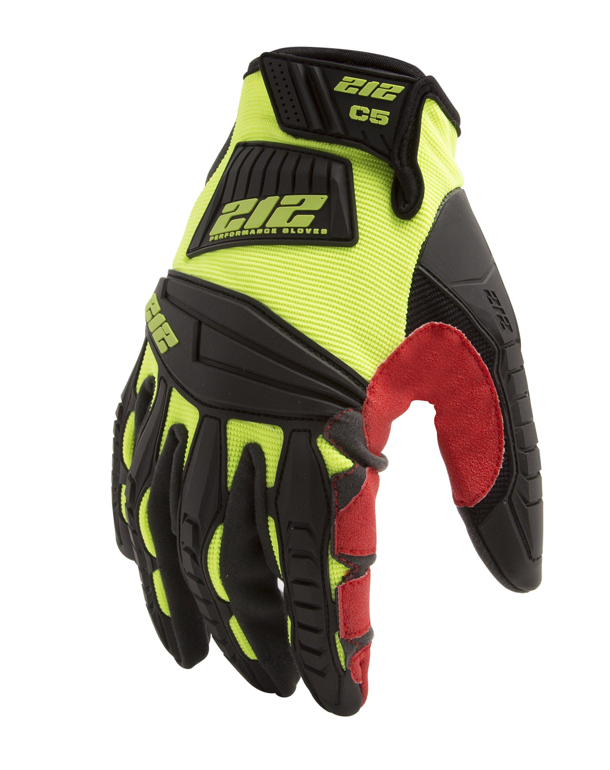 212 Performance Gloves IMPC5-88-010 Super Hi-Vis Cut Resistant Gloves (EN Level 5, ANSI A4), Large