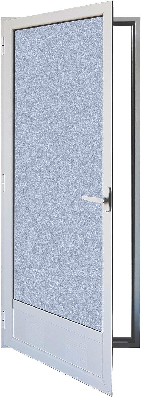 Puerta Balconera Aluminio Practicable Izquierda 800 ancho x 2000 alto con Rejilla de ventilación y cristal mate carglass 1 hoja: Amazon.es: Bricolaje y herramientas
