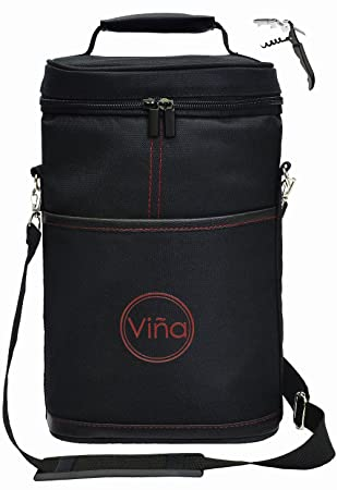 Amazon.com | Vina 2 Bottle Wine Tote Carrier, Portable Insulated ...