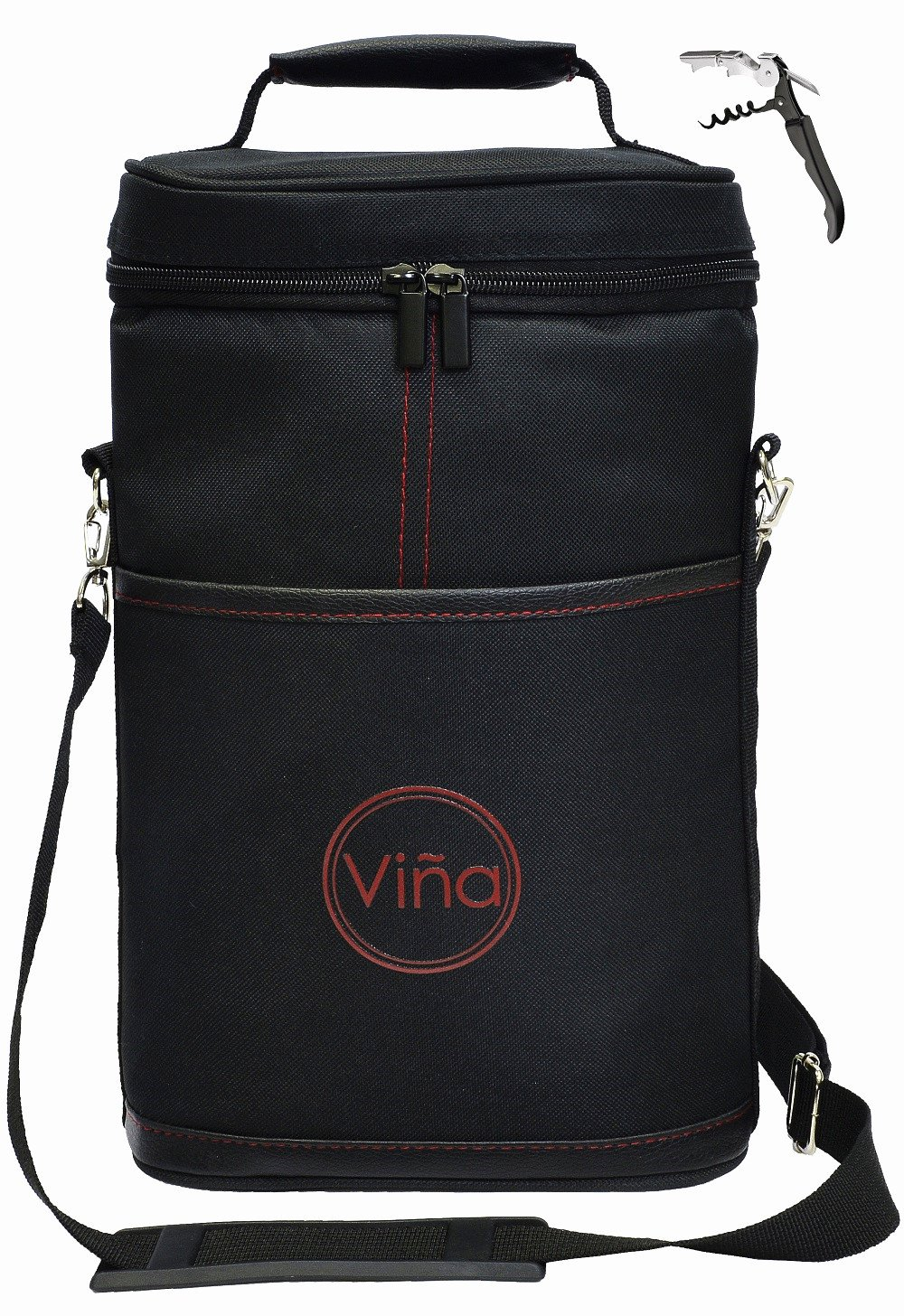 Vina 2 Bottle Wine Tote Carrier, Portable Insulated Carrying Bag Wine Holder with Adjustable Shoulder Strap + Corkscrew - Great Gift, Perfect for Travel, Beach Day