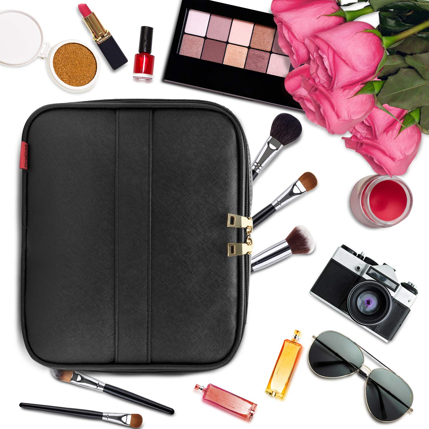 Makeup Bag NiceEbag Travel Cosmetic Bag for Women and Men Cute Makeup Case Leather Cosmetic Case with Adjustable Padded Dividers for Cosmetics Make Up Tools Toiletry Jewelry,Black by NiceEbag (Image #4)