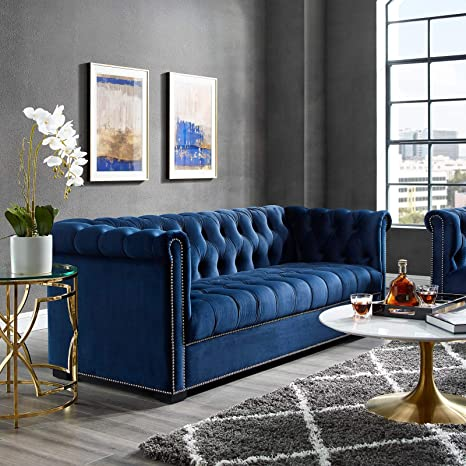 Modway Heritage Tufted Performance Velvet Upholstered Chesterfield Sofa With Nailhead Trim In Midnight Blue Furniture Decor