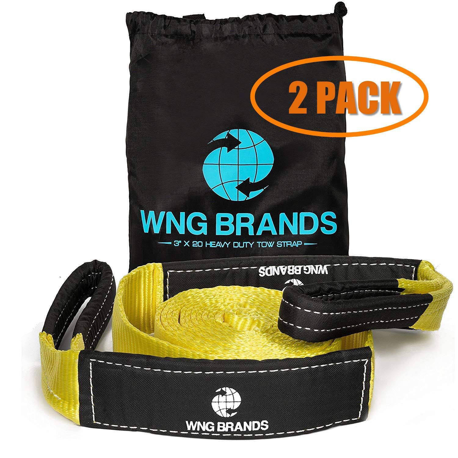 WNG Brands Recovery Tow Strap 30K LBS - Breaking Capacity Heavy Duty Vehicle Towing Winch Snatch Strap Car Emergency Rope Reinforced Looped Ends Highly Strong & Durable Off Road Tree Saver 20 Feet by WNG Brands