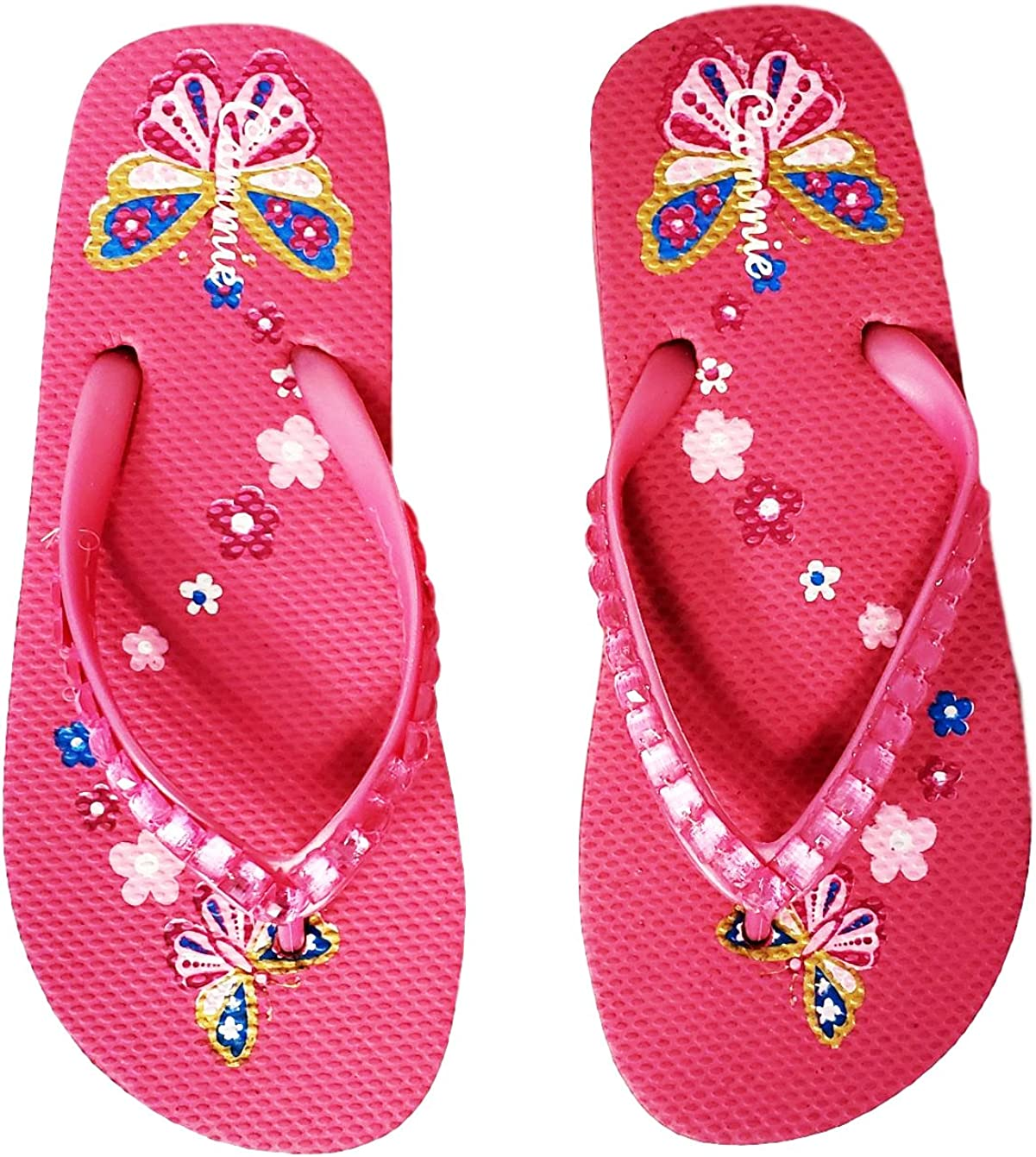 Cammie Girls Jewel Upper Butterfly and Flowers Retro Flip Flop Sandals