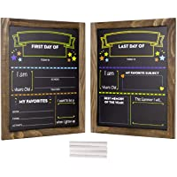 First Day and Last Day of School Chalkboard: Wooden Frame Photo Prop Board Sign for Kids. Erasable Reusable 13.25″ x 10.875