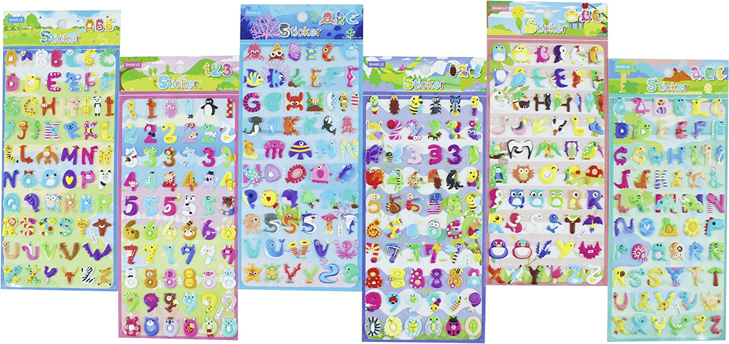 HighMount Animal Number and Letter Stickers 6 Sheets with 0-9 360 Foam Stickers A-Z Self Adhesive Alphabet Kids Learning Stickers for Arts Craft Scrapbooking Kids Party Favors