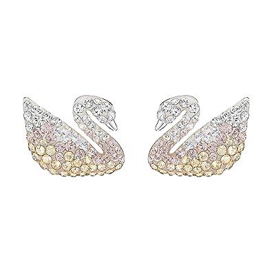 8aa93e485 Swarovski Women's Rhodium Plating Iconic Swan Pierced Crystals Earrings,  Multi-coloured, Large