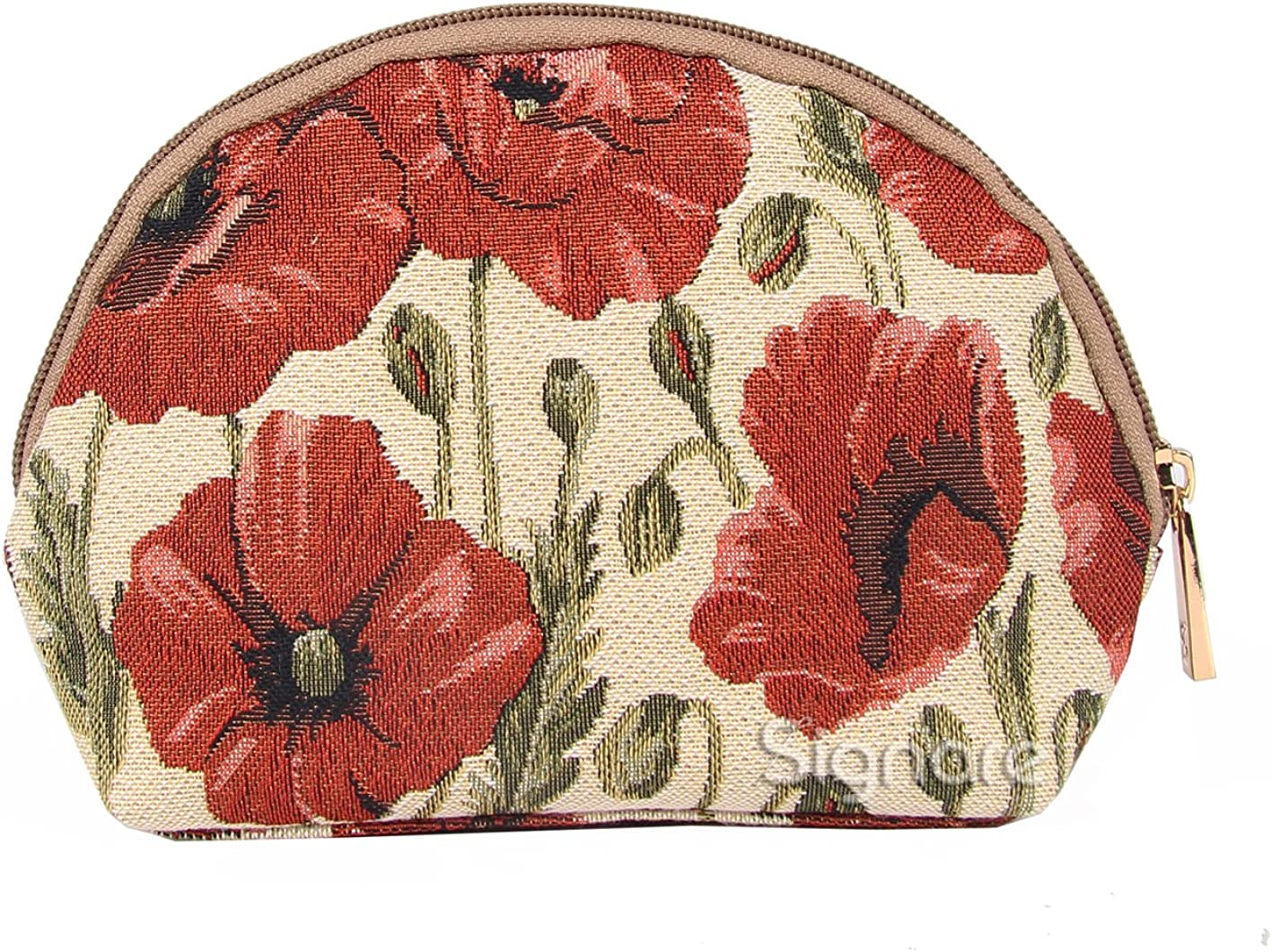 Signare Tapestry Red and White Makeup Bag Travel Cosmetic Bag Brush Bag for Women Girls with Poppy Flower (COSM-POP)