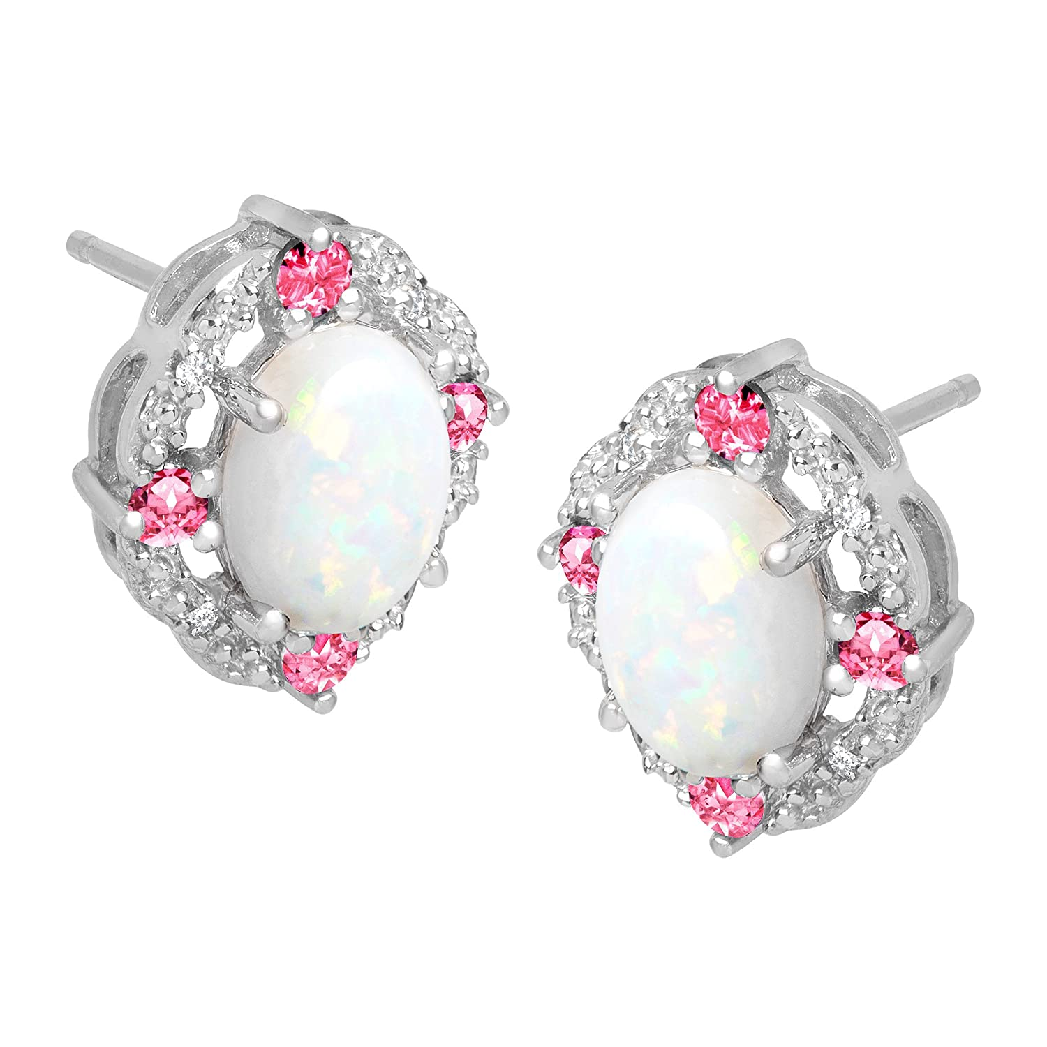 1 1 2 ct Created Opal Pink Sapphire Stud Earrings with Diamonds in Sterling Silver