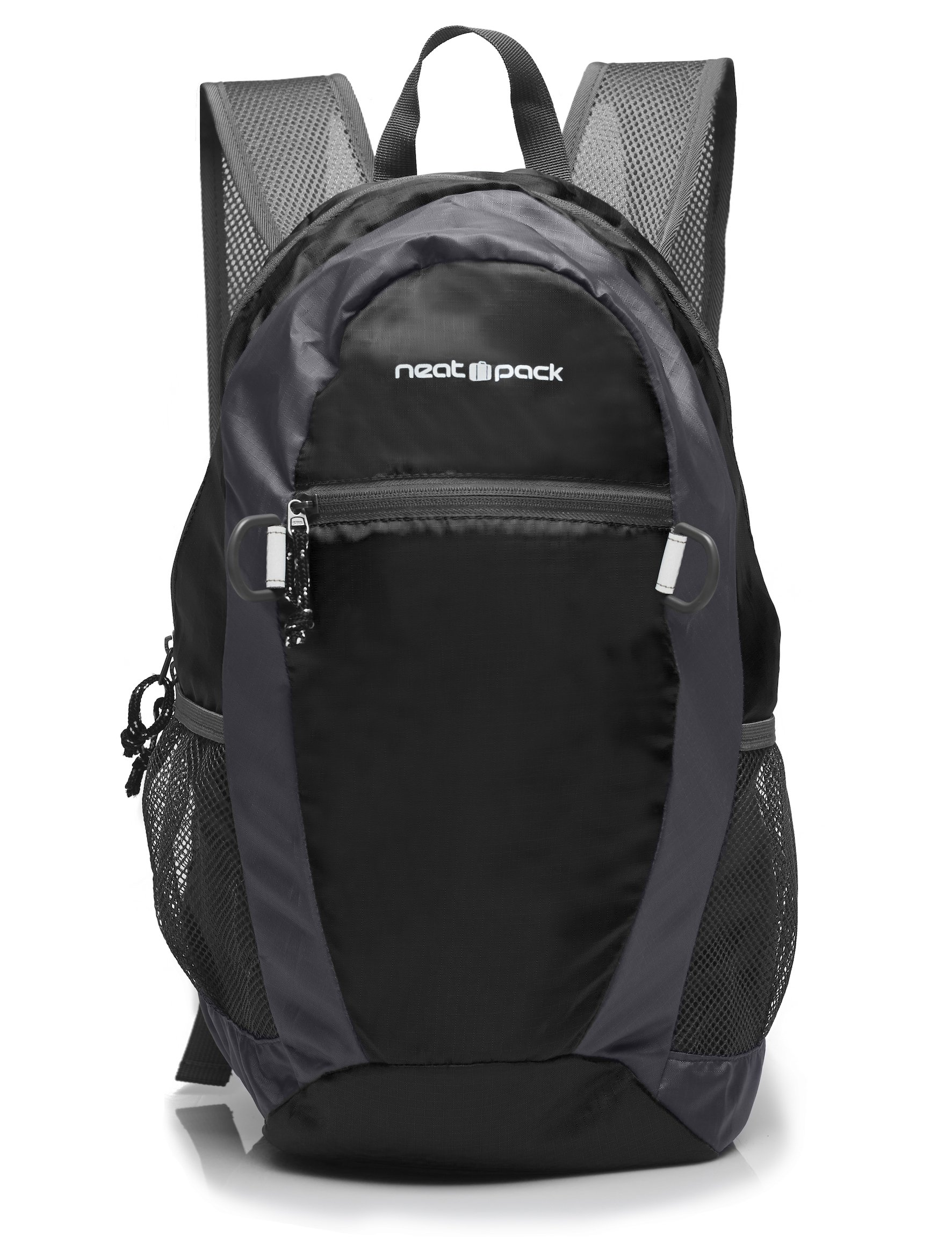 NeatPack Durable, Foldable Nylon Backpack/Daypack with Security Zippers, 20L, Black