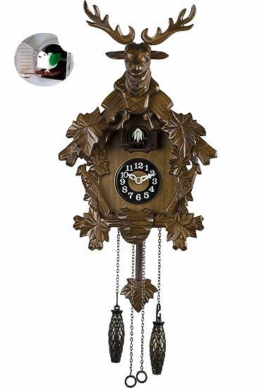 Uhr Modern amazon de braun kuckucksuhr holz 56cm lautstärkenregelung kuckuck