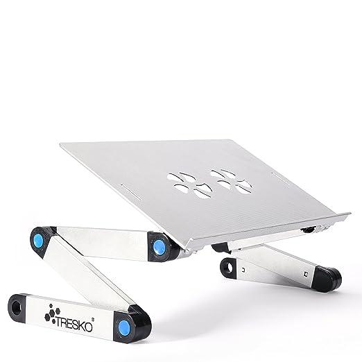 TRESKO® Mesa de ordenador portátil plegable soporte de portátil mesa de proyector 42,0 cm x 26,8 cm, de metal absorbente de calor, soporta hasta 15 ...