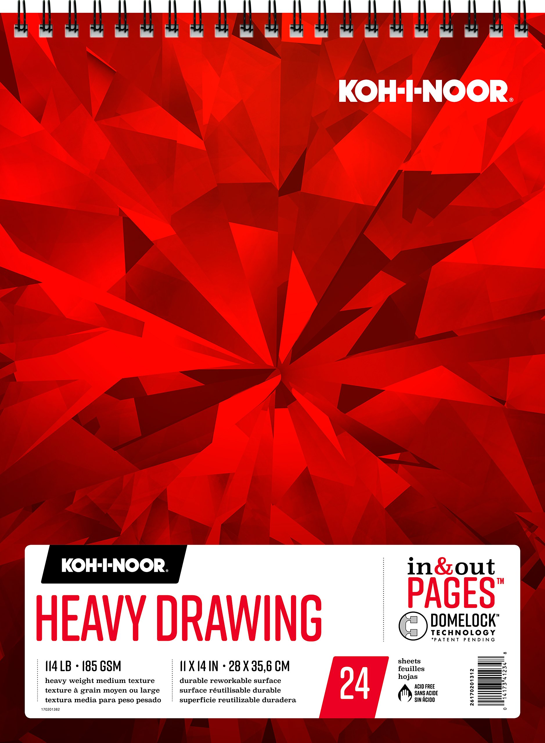Koh-I-Noor Heavy Drawing White Paper Pad with In and Out Pages, 90lb/147 GSM, 11 x 14'', Top Wire-Bound, 24 Sheets per Pad (26170201312)