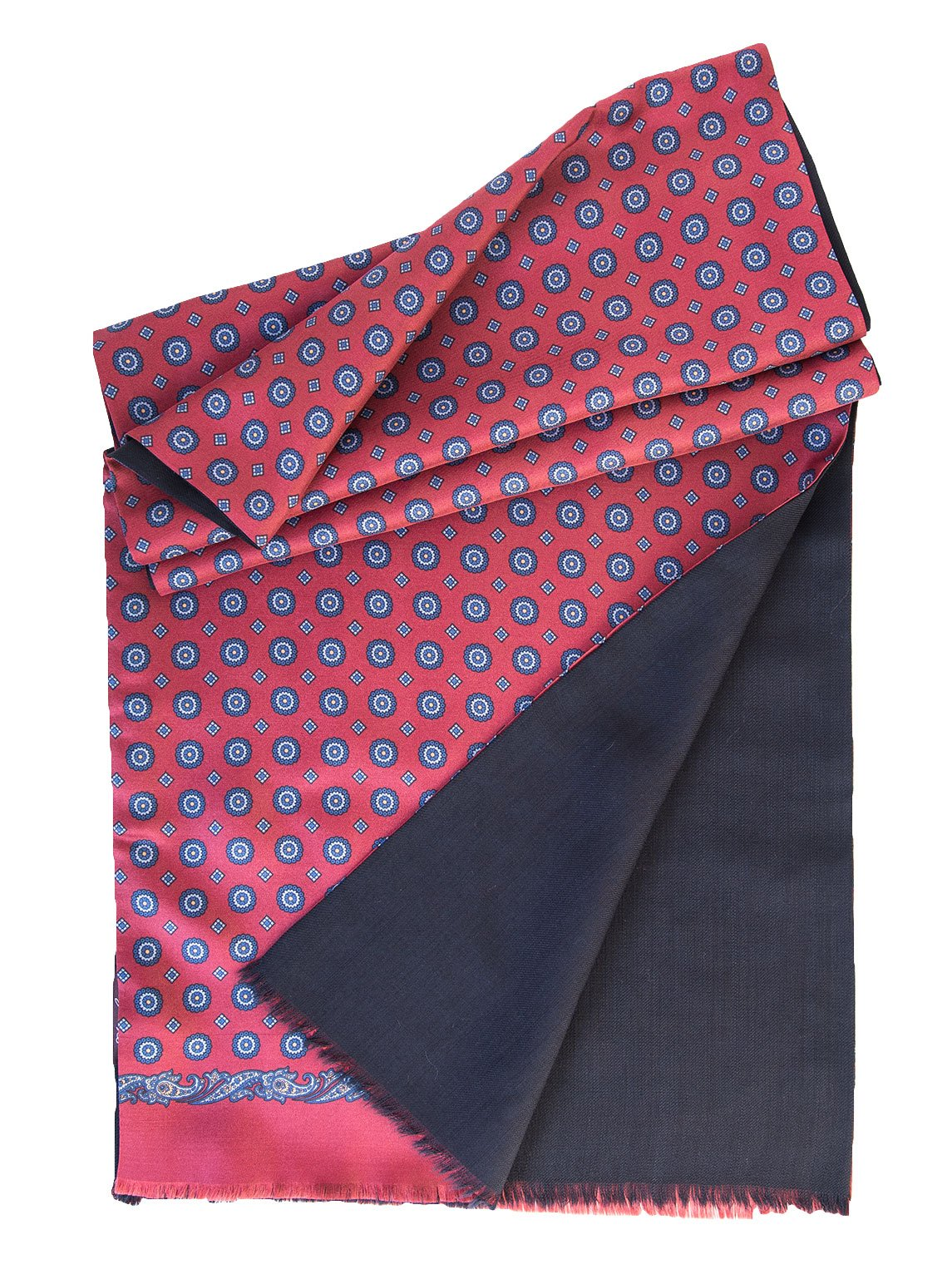 Elizabetta Men's Italian Silk Scarf-Soft Wool Lined-Burgundy & Navy