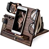TESLYAR Wood Phone Docking Station Ash Hooks Key Holder Wallet Stand Watch Organizer Men Gift Husband Wife Anniversary…