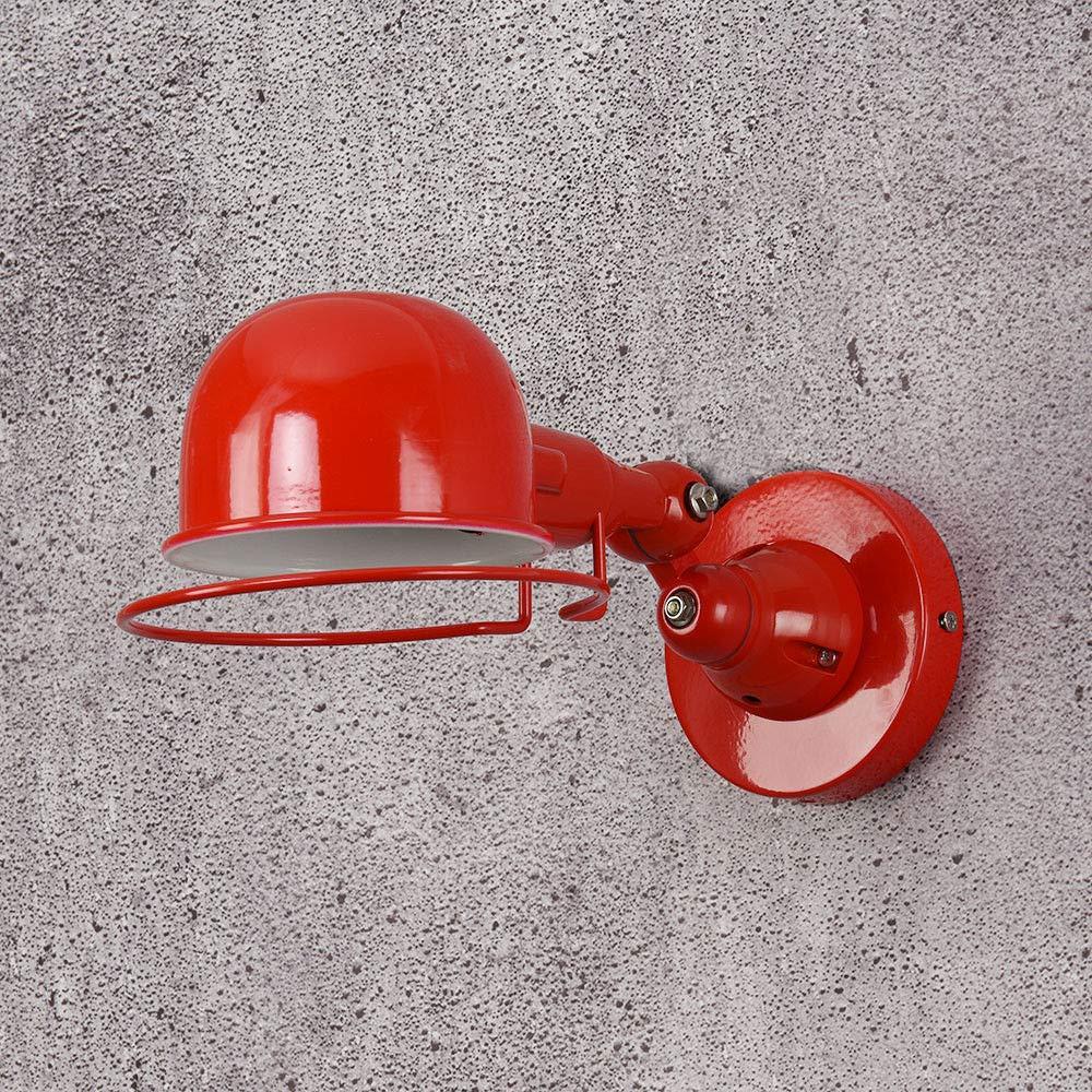 Wandleuchte e14 Mechanischer Arm France Jielde Wandleuchte Reminisce Versenkbare Doppelte Vintage Klappstange ohne Schalter Glanz, Rot