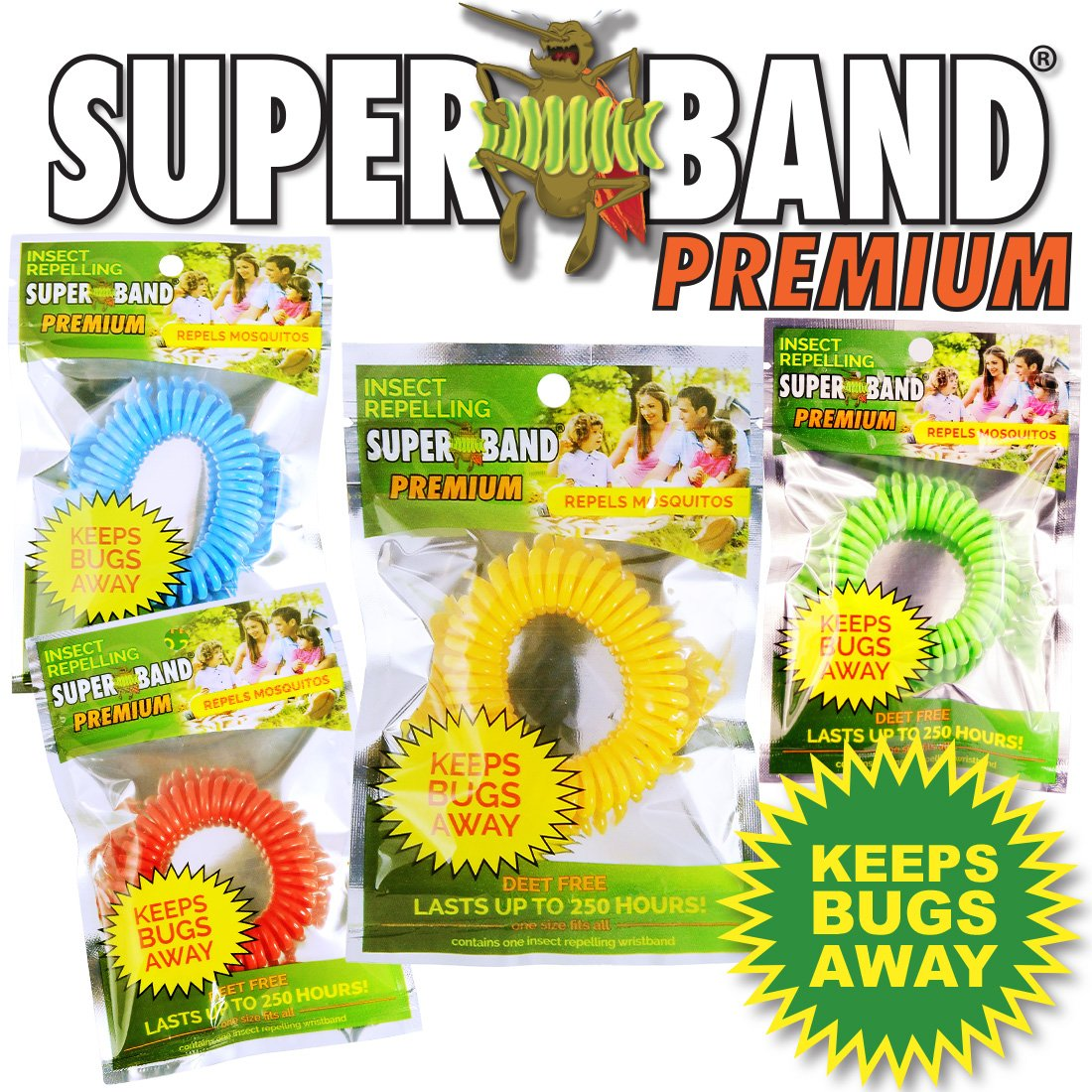 New 2016 Insect Repelling SUPERBAND PREMIUM Wristband in New Assorted Colors! Red, Blue, Green, and Yellow - New Green Packaging! (1,200)