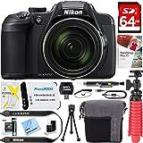 Nikon COOLPIX B700 20.2 MP 60x Optical Zoom Super Telephoto NIKKOR Digital 4K Wi-Fi Camera (Black) + 64GB SDXC Memory & Accessory Bundle