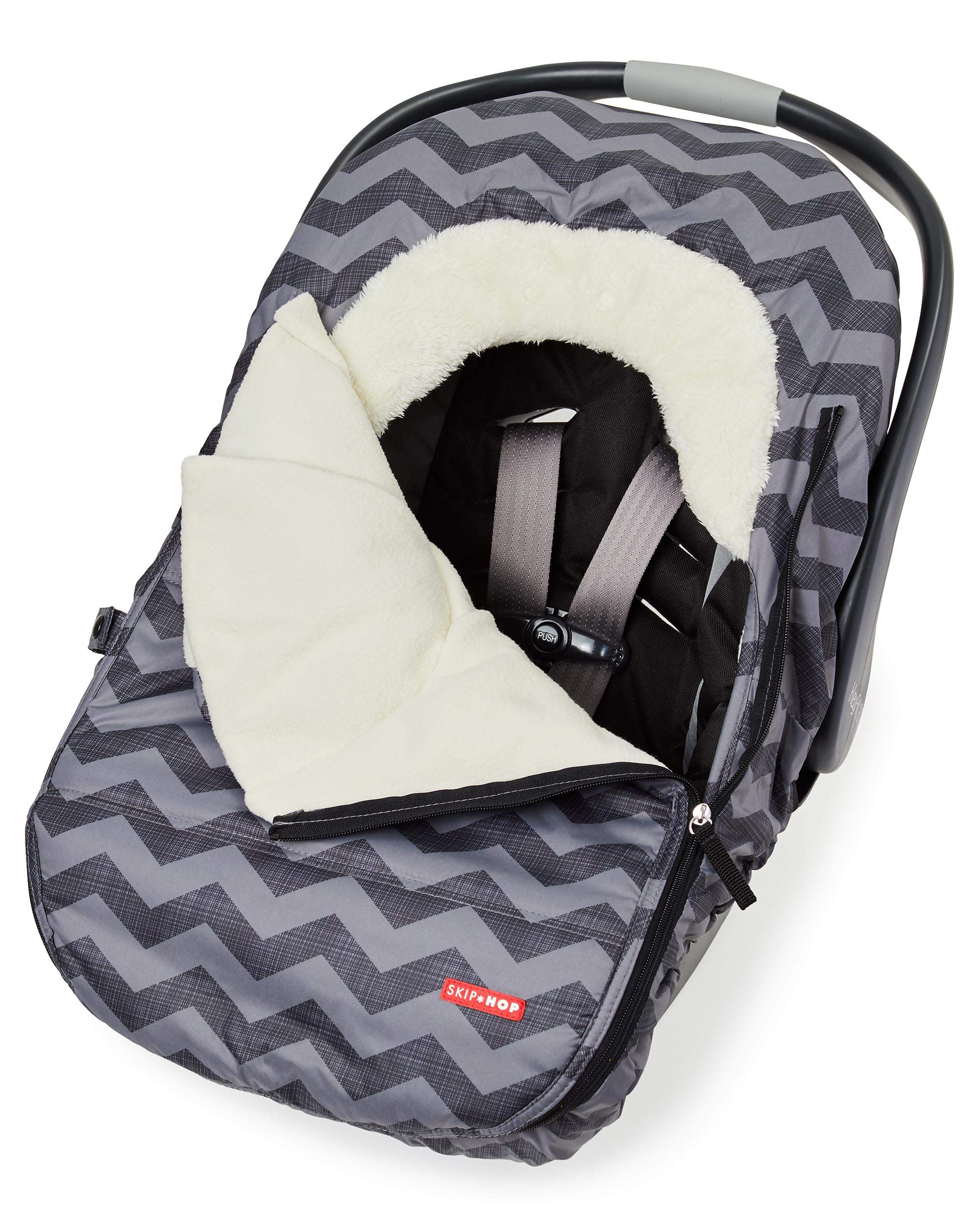 Skip Hop Stroll & Go Infant & Toddler Automotive Car Seat Cover Bunting Accessories, Universal Fit, Tonal Chevron, Black Chevron by Skip Hop (Image #4)