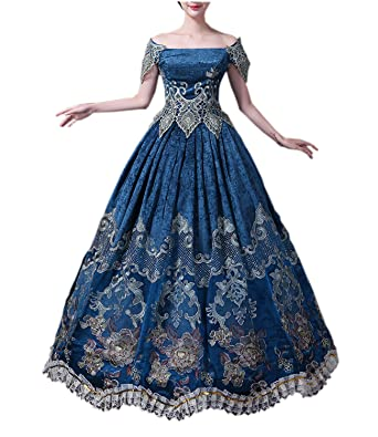 fa46db0bc96b Nuoqi Womens Medieval Victorian Fancy Dresses with Crinoline Palace Royal  Masquerade Vintage Costume (blue