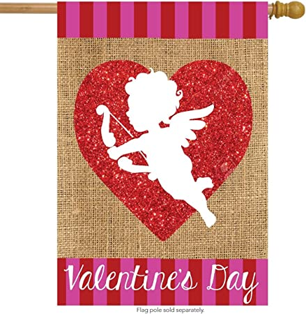 "Cupid Burlap Valentine/'s Day House Flag Holiday Love 28/"" x 40/"" Briarwood Lane"