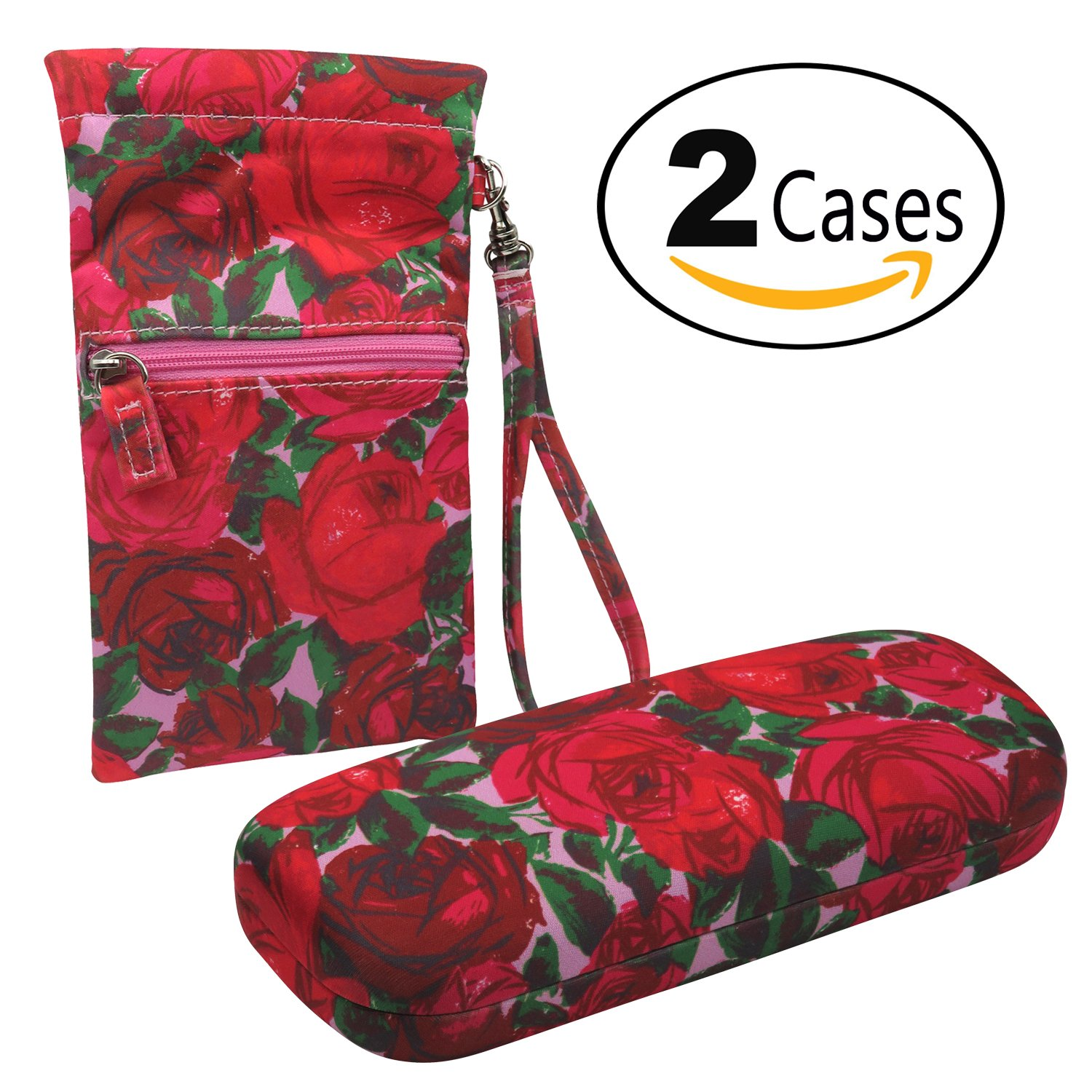 Red Roses Combo - hard shell eyeglasses case + sunglasses wristlet pouch w/cleaning cloth by MyEyeglassCase