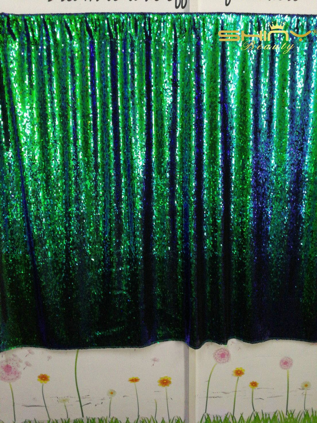 ShinyBeauty 10FTx10FT-Mermaid-Green&Black-Sequin Curtain Backdrop,Reversible Sequin Fabirc Photography Backdrops For Photo/Wedding/Party/Event/Prom/Birthday