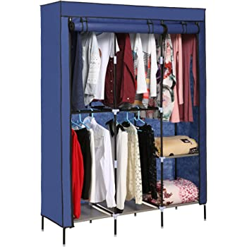 Blue Anfan Clothes Closet Portable Wardrobe Clothes Storage Rack with Shelves Fabric Cover