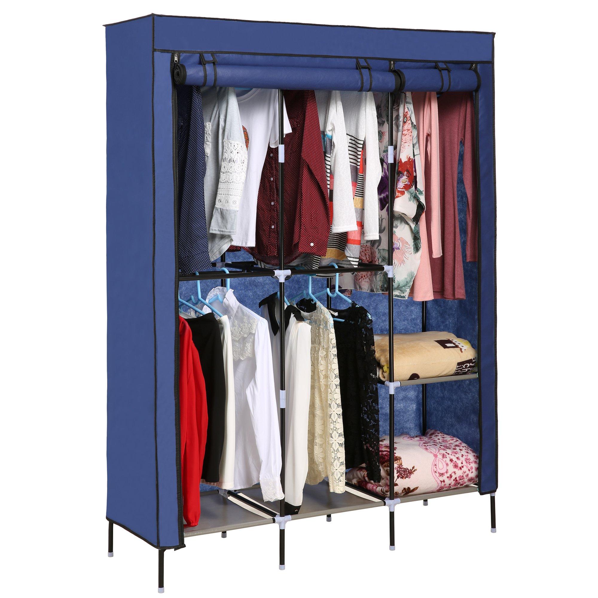 Dorfin Storage Organizer Wardrobe Clothing Closet Freestanding Double Rod Non-woven Fabric Organizer w/Shelves (Blue)