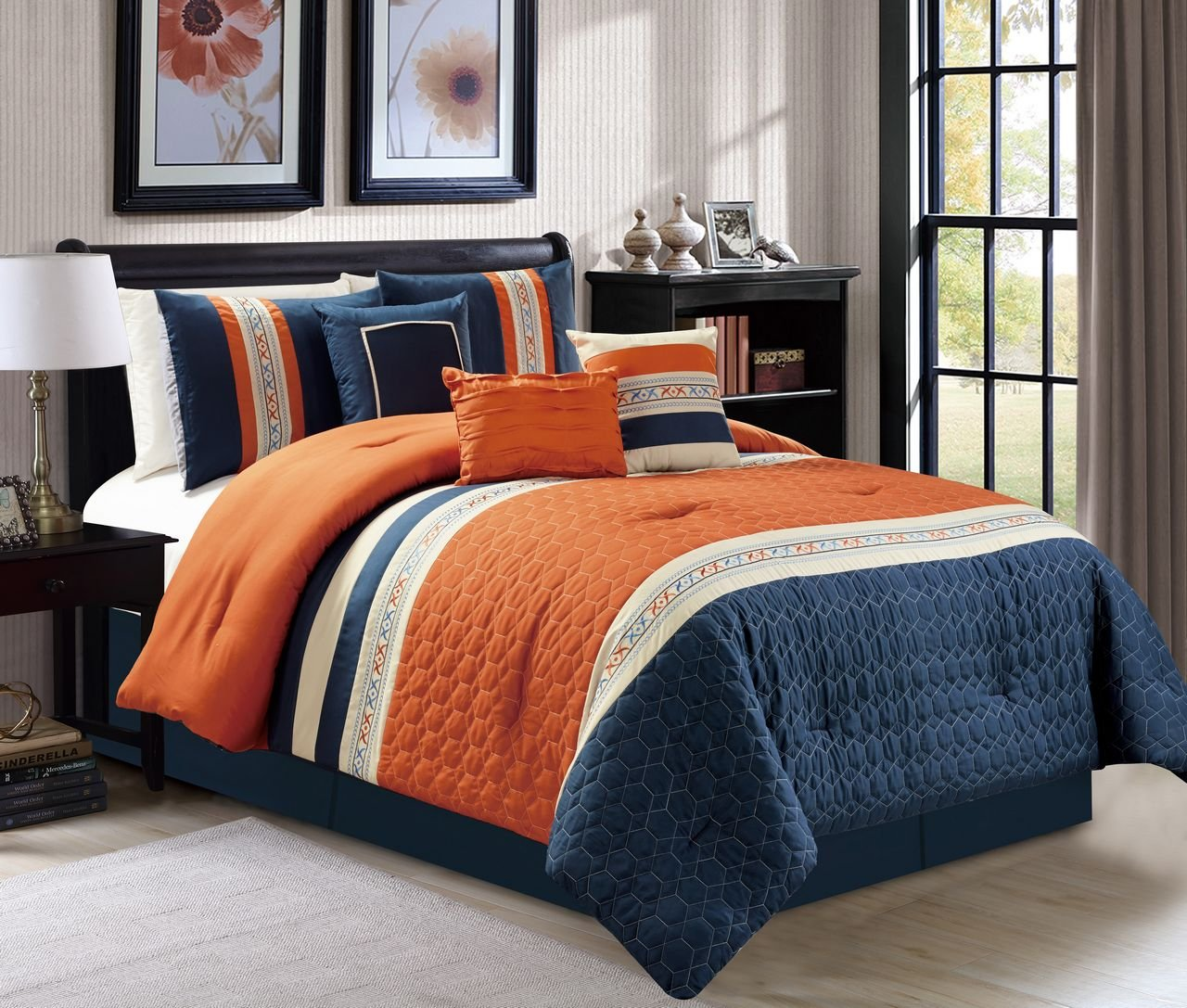 New pc cal king size honeycomb quilted orange navy ivory