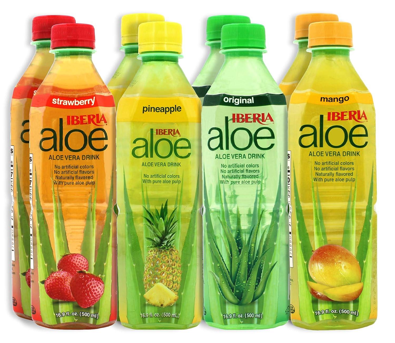 Iberia Aloe Vera Drink with Pure Aloe Pulp, Variety, (Pack of 8) 2 x Original, 2 x Mango, 2 x Pineapple, 2 x Strawberry