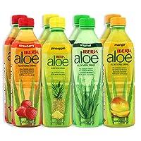 Iberia Aloe Vera Drink With Pure Aloe Pulp 16.9 Fl Oz (Pack of 8) No Artificial...