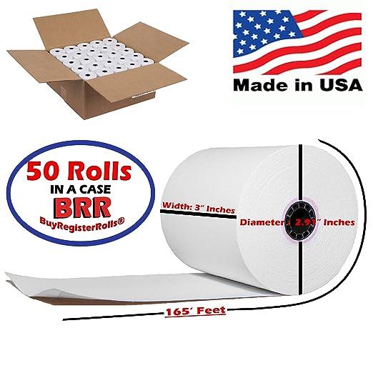 Amazon 50 Rolls 3 X 165 1 Ply Bond Receipt Paper POS Cash Register Made In USA From BuyRegisterRolls Electronics