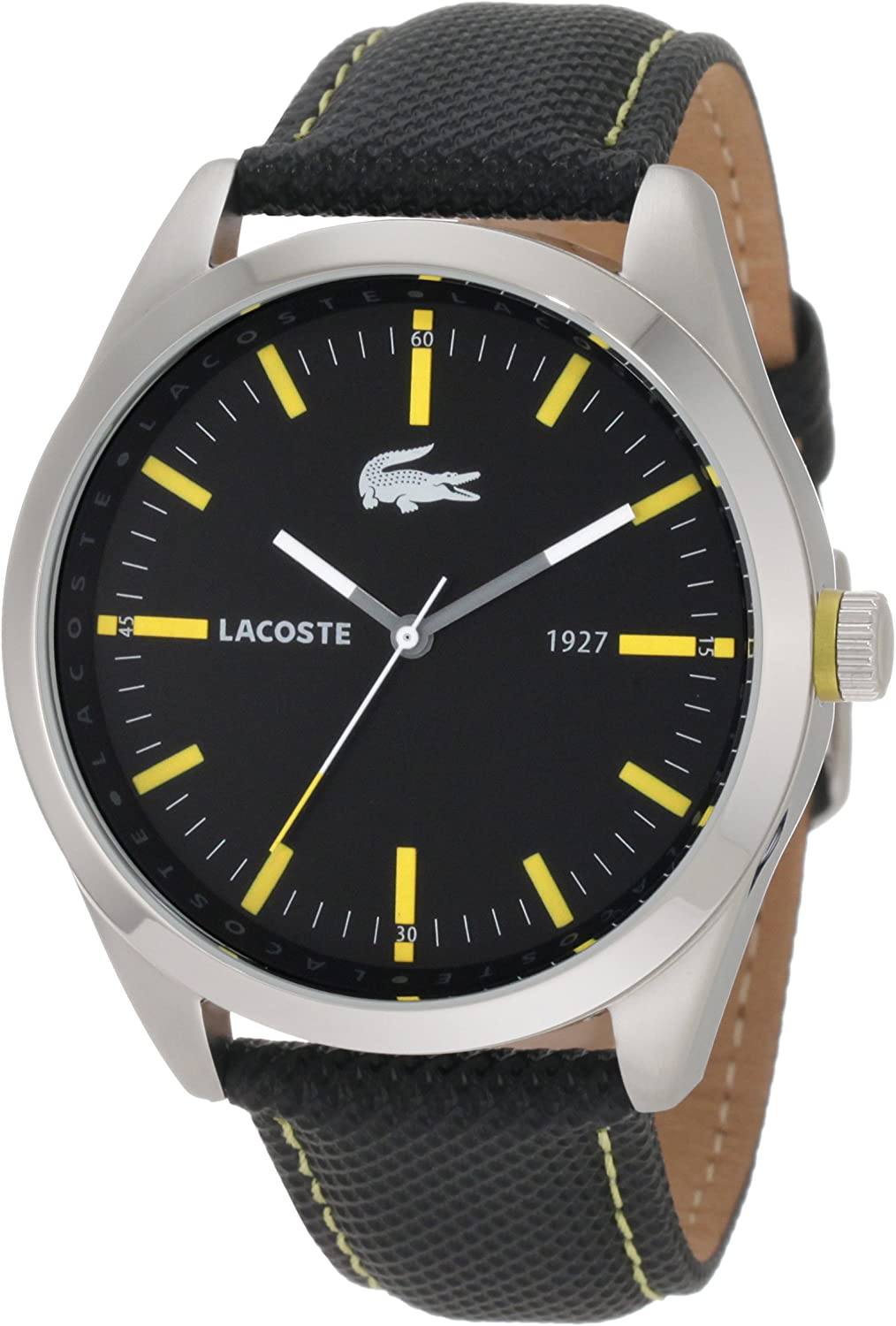 Lacoste Men s 2010596 Montreal Black With Yellow Details Watch