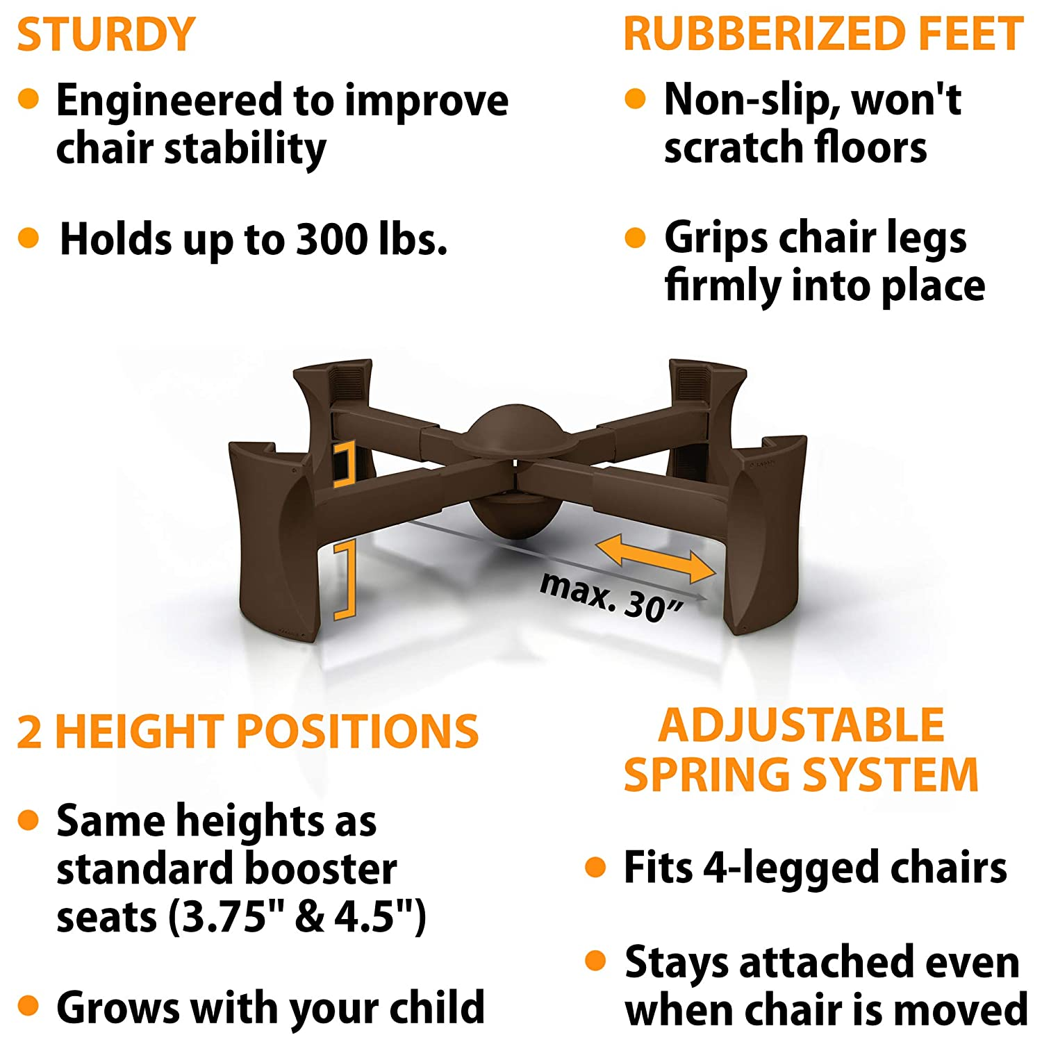 KABOOST Booster Seat for Dining Table, Chocolate - Goes Under The Chair - Portable Chair Booster for Toddlers : Chair Booster Seats : Baby