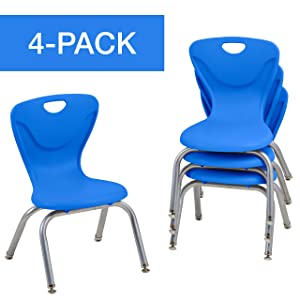 "Factory Direct Partners 12"" Contour School Stacking Student Chair, Ergonomic Molded Seat Shell with Chromed Steel Frame and Swivel Leg Glides; for in-Home Learning or Classroom - Blue (4-Pack)"