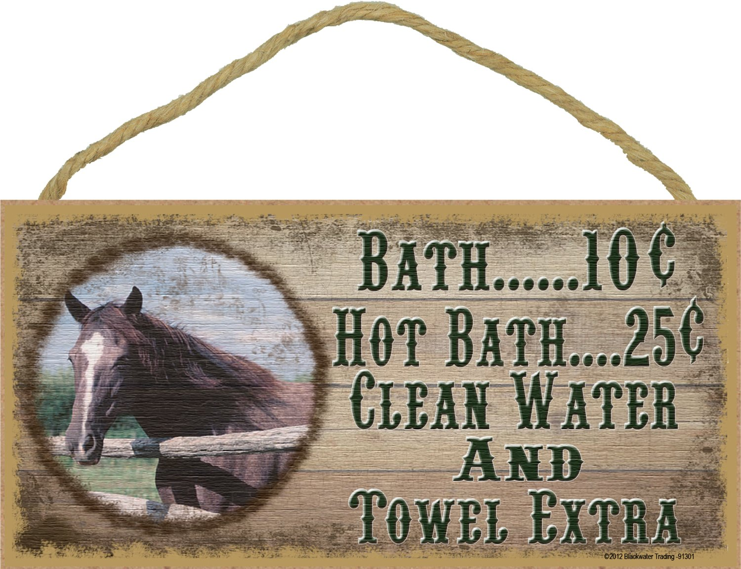 "Western Horse Bath 10 Cent Clean Water Towel Extra Sign Plaque bath Decor 5""X10"""