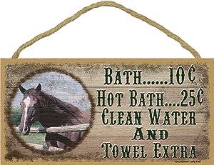 "Western Horse Bath 10 Cent Clean Water Towel Extra Sign Plaque bath Decor 5""X10"""