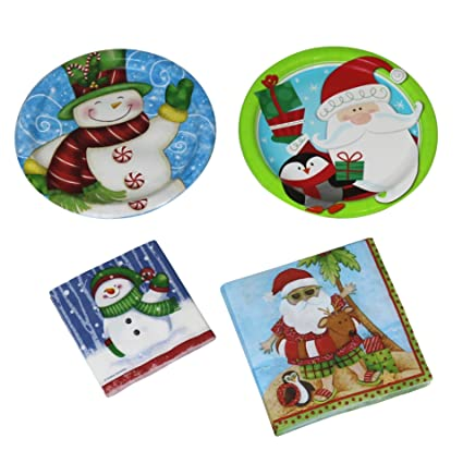 Creative Converting 24 Paper Plates And 36 Napkins Place Settings Set - Christmas - Holiday Fun  sc 1 st  Amazon.com & Amazon.com: Creative Converting 24 Paper Plates And 36 Napkins Place ...