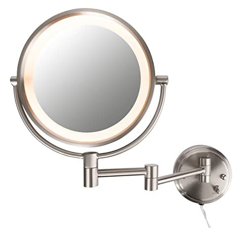 Conair Round Shaped Double-Sided Wall Mount Lighted Makeup Mirror 1x 8x, Brushed Nickel Finish