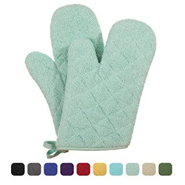 VEEYOO 100% Cotton Oven Mitts Heat Resistant Kitchen Oven Gloves Machine Washable Terry Oven Mitts (7.5x12, Mint)
