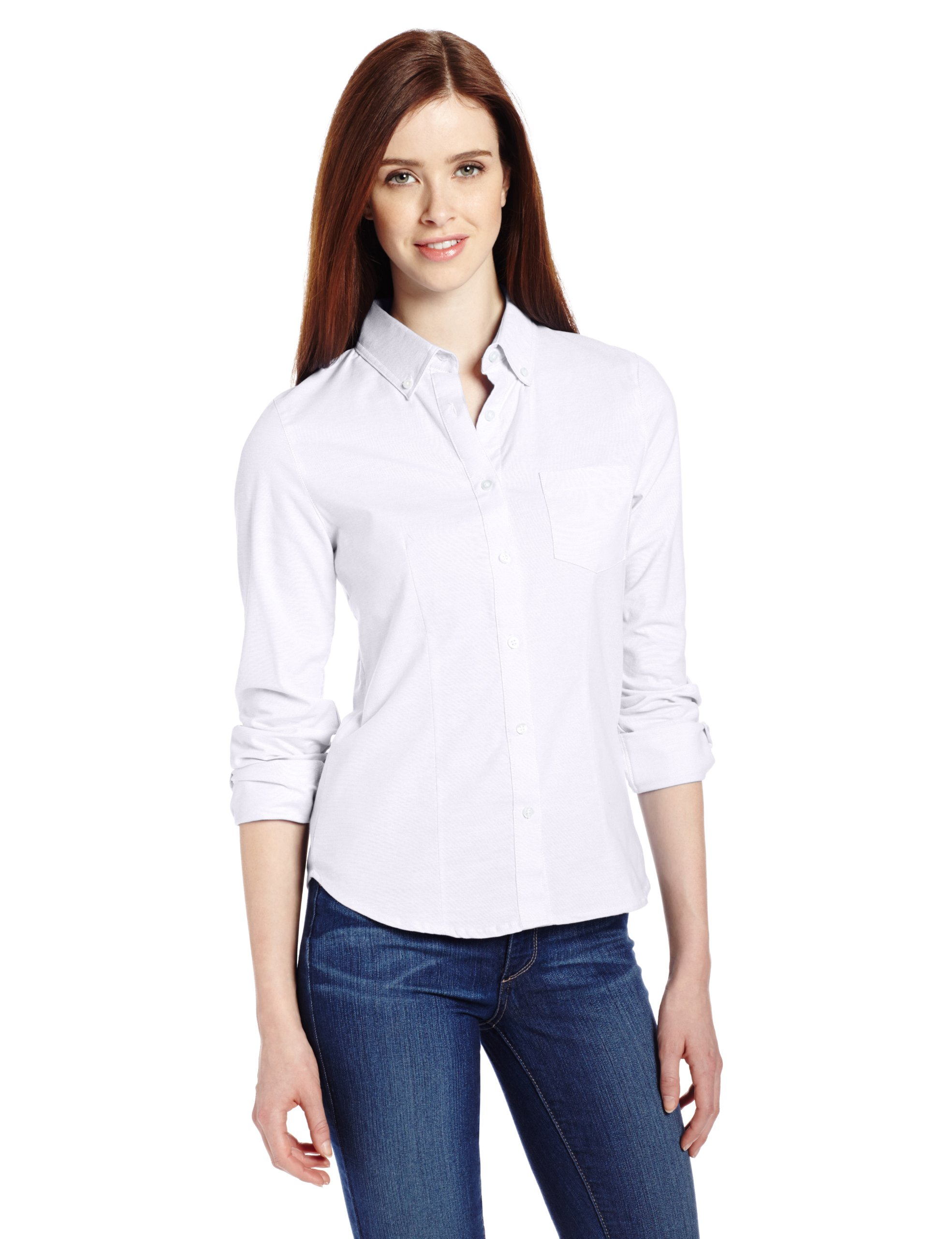 LEE Juniors Plus Size Long Sleeve Stretch Oxford Blouse, White, XX-Large