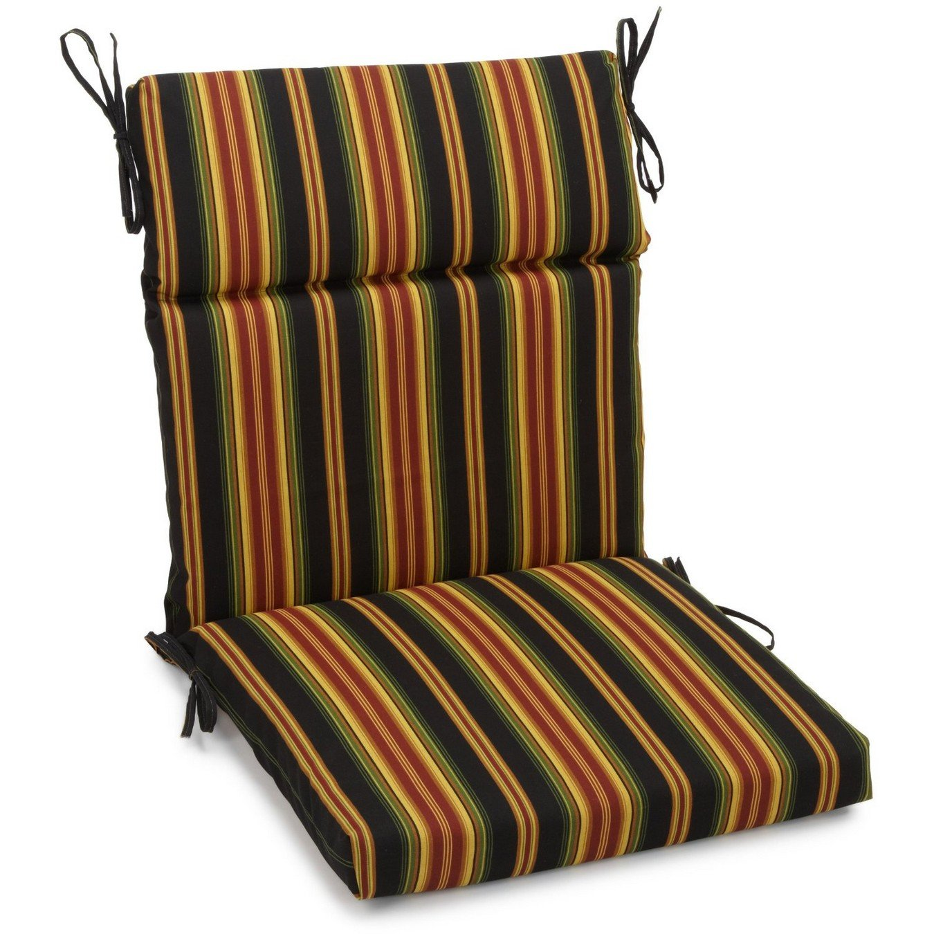 Blazing Needles Spun Polyester Patterned Outdoor Squared Seat Back Chair Cushion, 20 x 42 , Lyndhurst Raven