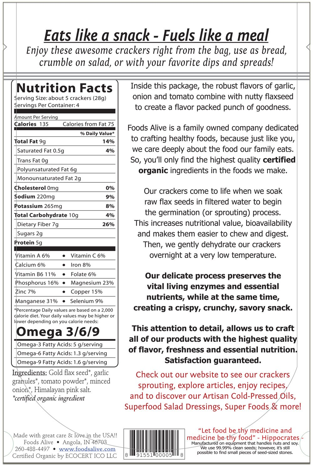 Foods Alive Flax Crackers Onion Garlic 4 oz 113 g by Foods Alive (Image #2)