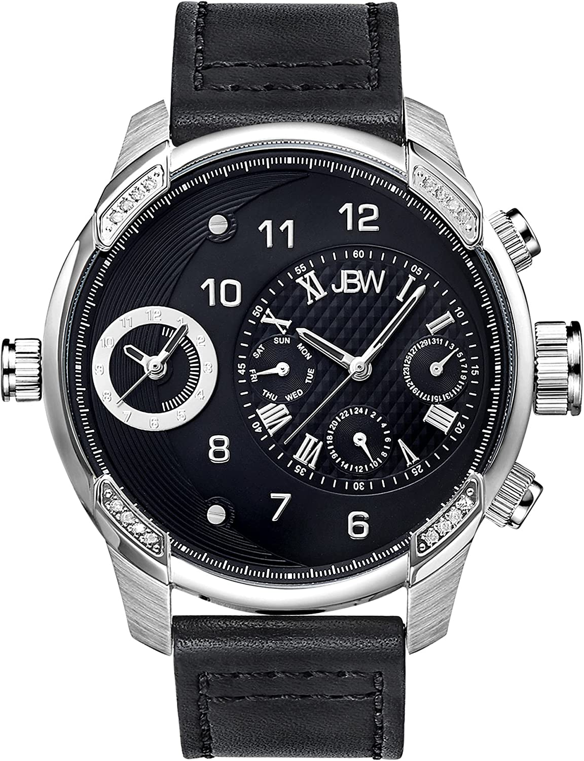 JBW Men s G3 Dual Time Zone Real Diamond Watch with Genuine Leather Band