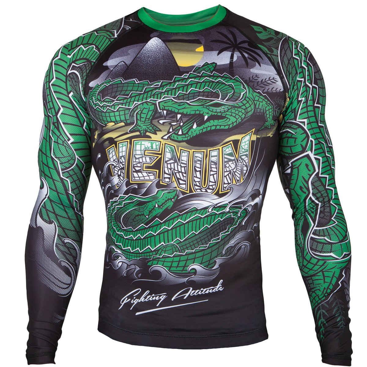 Venum Crocodile Dry Tech Long Sleeve MMA Rashguard - Small - Black/Green by Venum