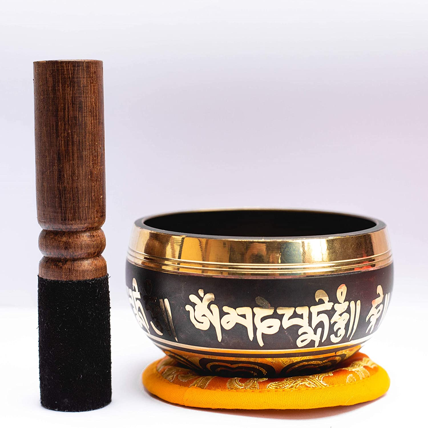Tibetan Singing Bowl Set With Wooden Mallet & Cushion For Yoga -Meditation-Sound Healing -Feng Shui -Reiki With Mantra Etching By Nepalese Craftsman-Ideal Gift