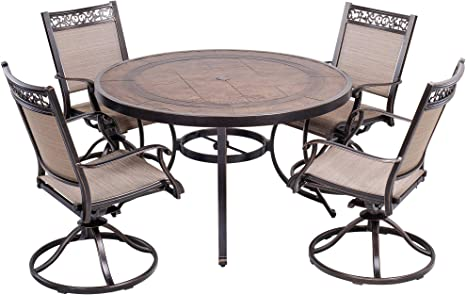 Dali 5 Piece Outdoor Dining Set Patio Furniture Aluminum Swivel Rocker Chair Sling Chair Set With 48 Inch Round Crafttech Top Aluminum Table Amazon Co Uk Garden Outdoors